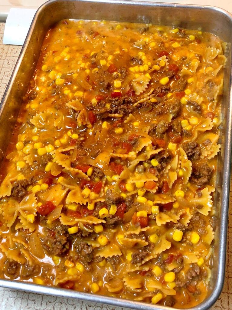 Transfer Sloppy Joe Mixture to Casserole Dish