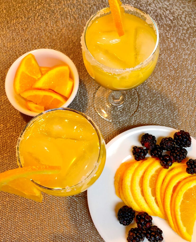 Brunch Orange Juice Mocktail in a Sugared Glass