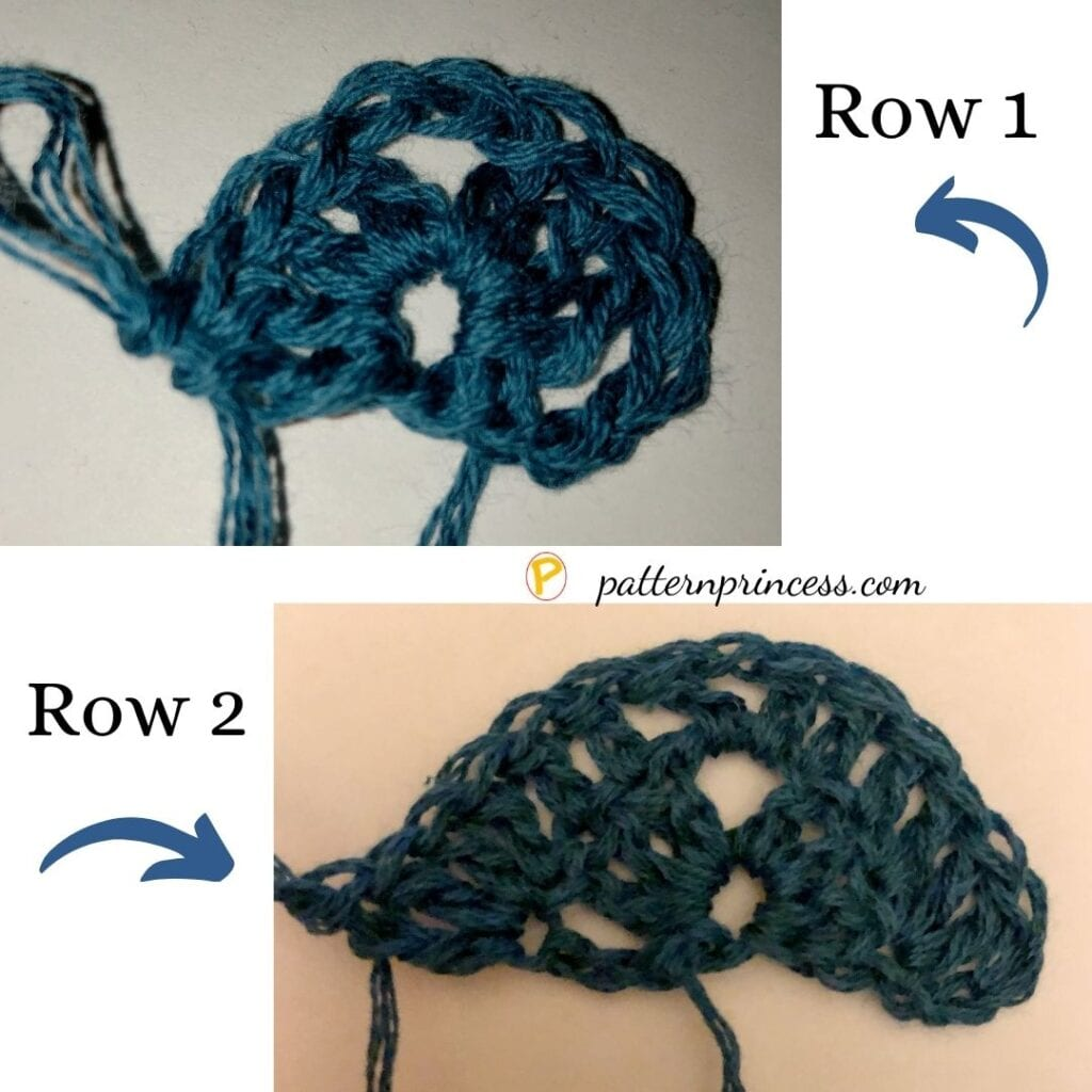 Crochet Stitches for Rows 1 and 2