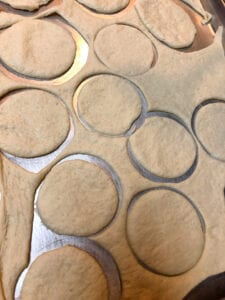 Cutting out 2-inch Circles in the Dough