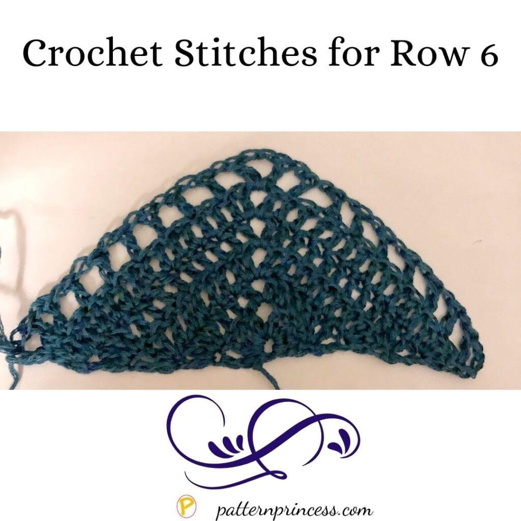 Triangle Shawl Crochet Stitches for Row 6