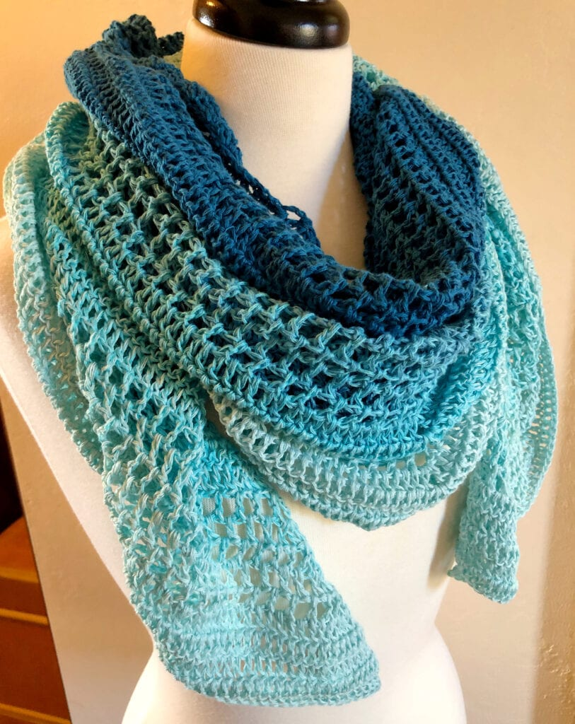 Triangle Shawl Crochet Worn Over the Shoulders