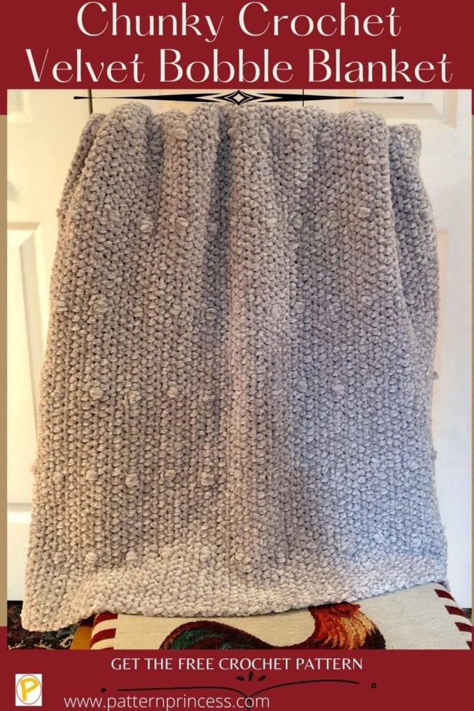 Chunky Crochet Velvet Bobble Blanket