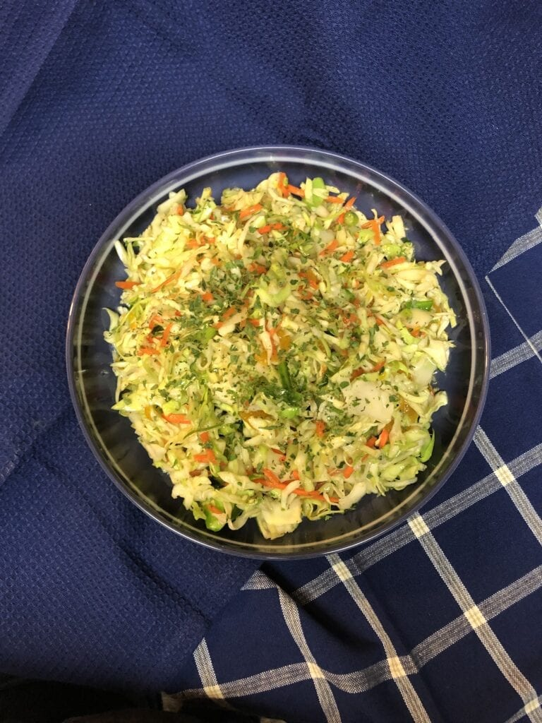 Sweet and Tangy Vinaigrette Coleslaw in a serving bowl