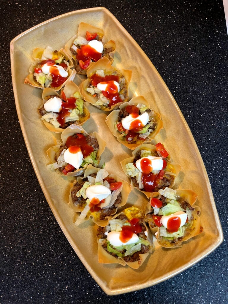 Taco Cup Appetizers in Serving Tray
