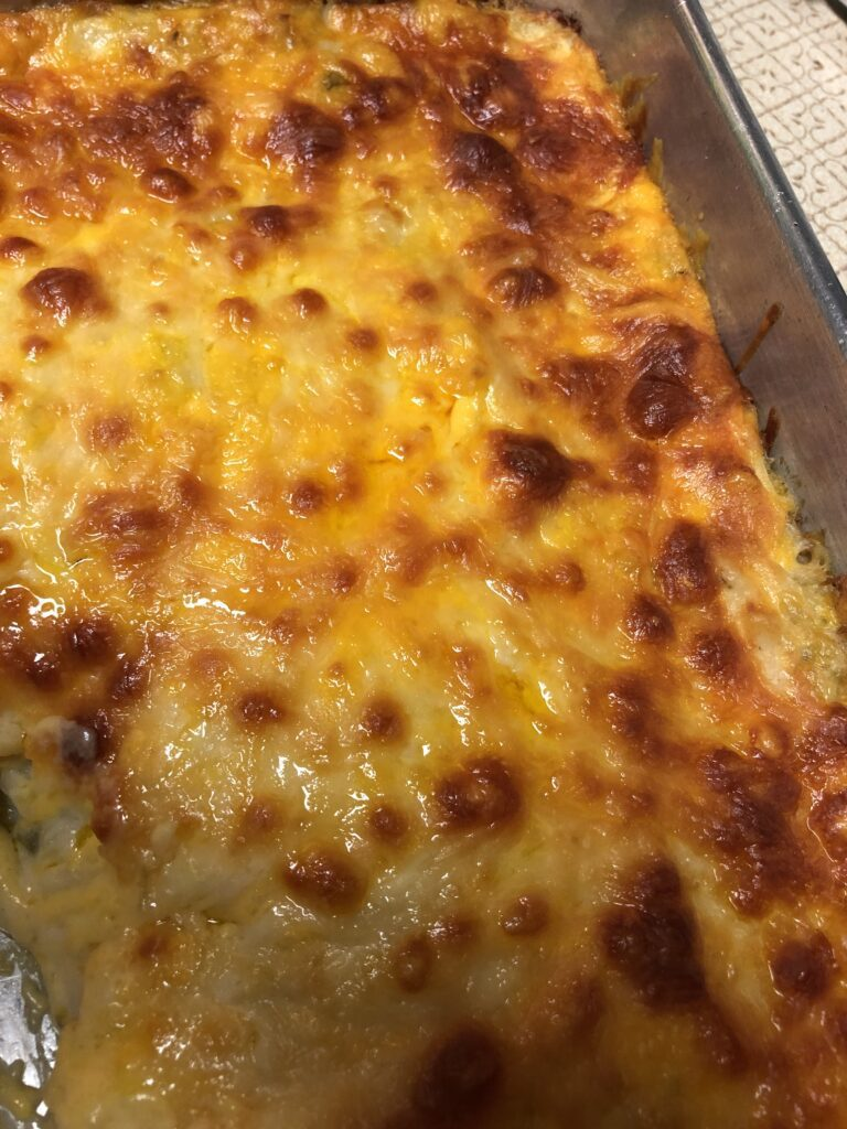 Cheesy Hash Browns Casserole Ready for Serving