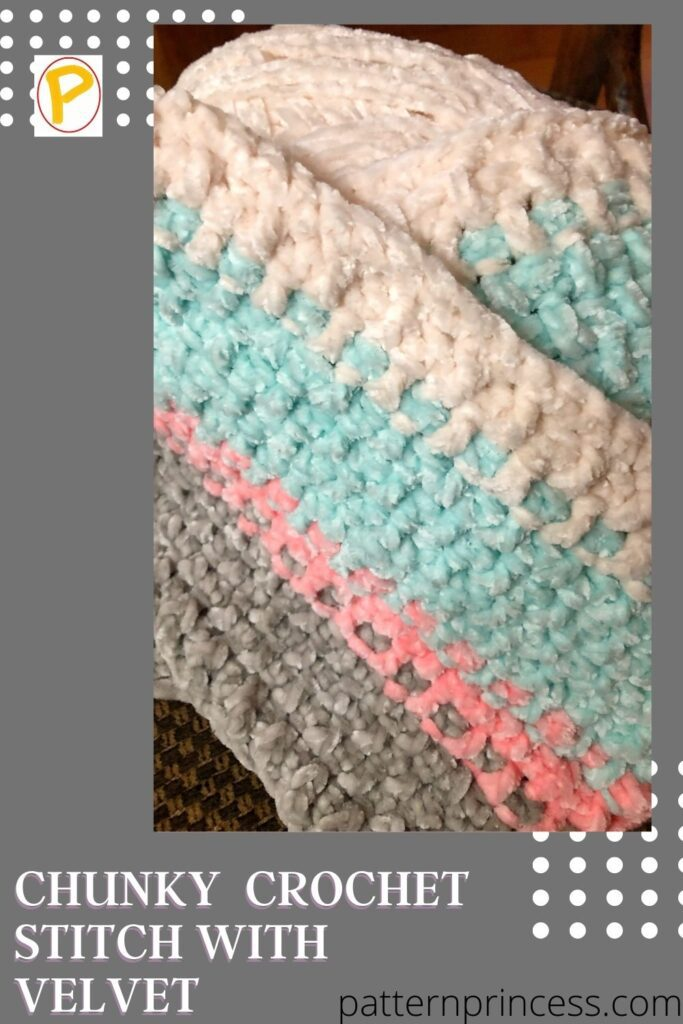 Chunky Velvet Crochet Stitch in pink white blue and grey