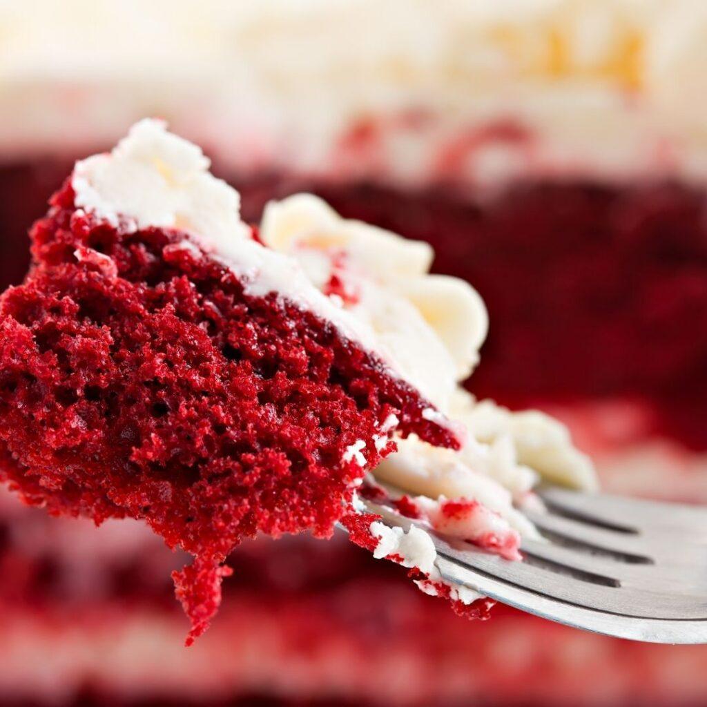 Enjoying a Piece of Dessert Cake