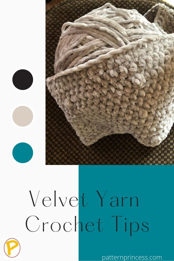 Velvet Yarn Crochet Tips ball of yarn with a textured pattern draped over the ball of yarn