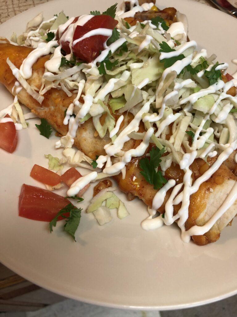 Pork Carnitas Enchiladas Plated