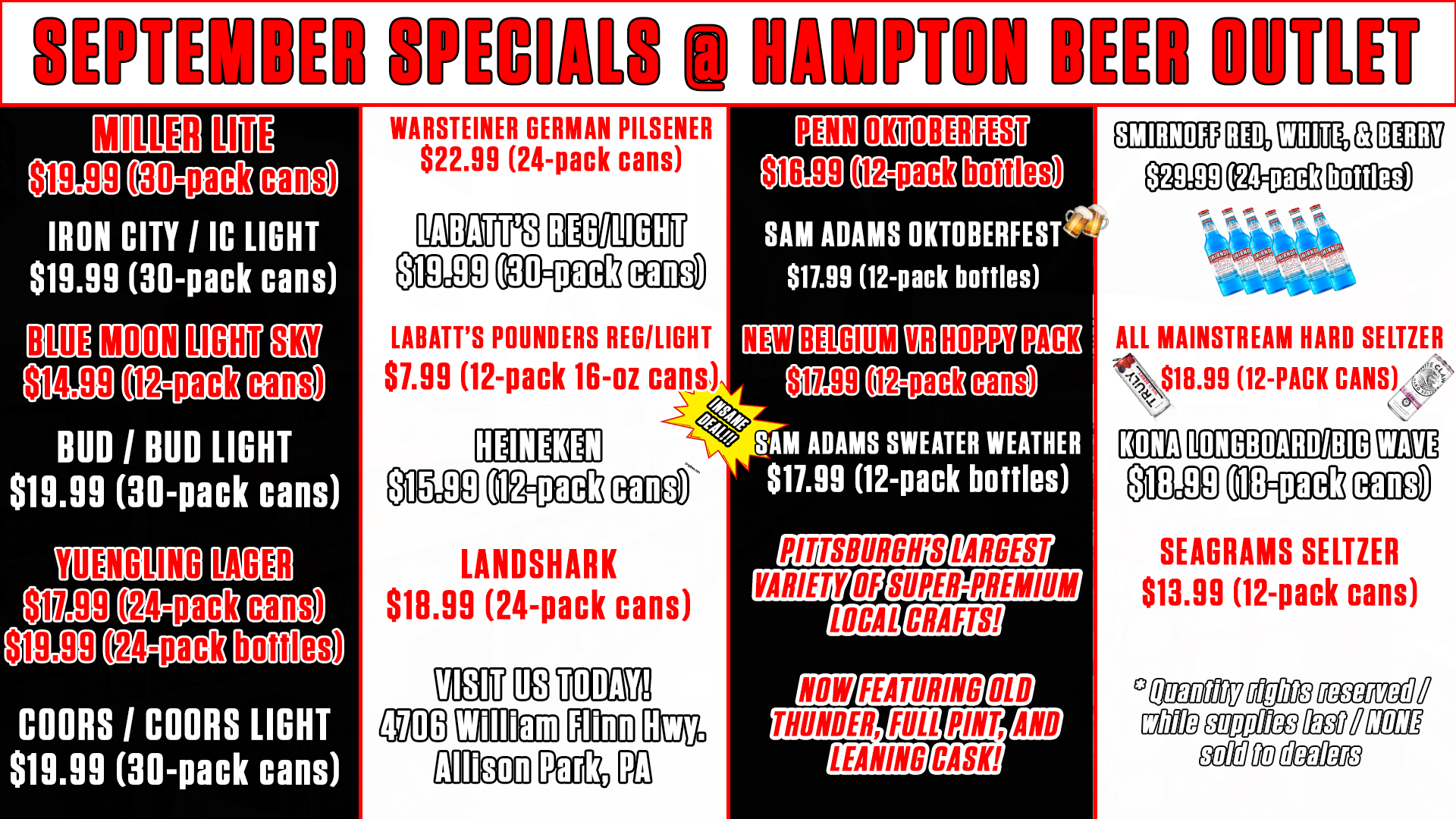 Hampton-beer-outlet-pittsburgh-specials-september-2021