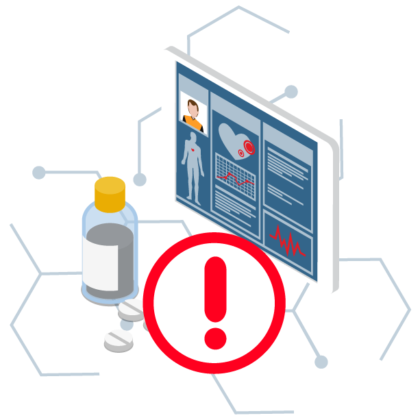 Artwork of a pill bottle and medical data