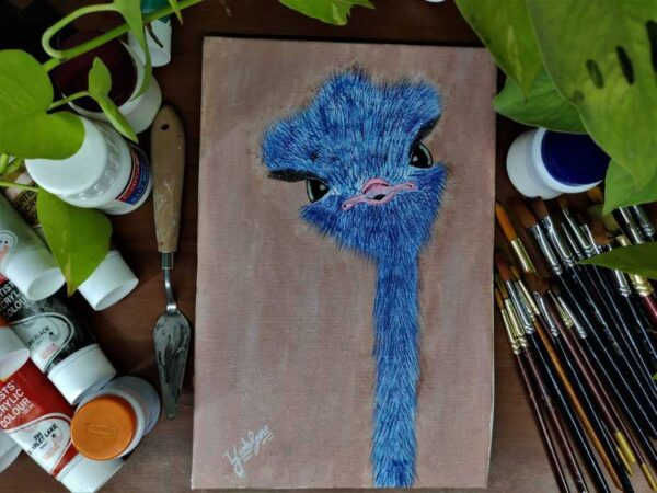 Baby Ostrich - 8*12 Inch Acrylic Painting