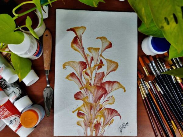 Golden Flower - 8*12 Inch Acrylic Painting