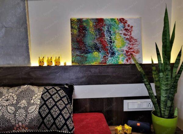 """Flow of Rainbow"" - 14*22 Inch Acrylic Painting"