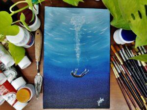 Sinking into Deep Sea - 8*12 Inch Acrylic Painting