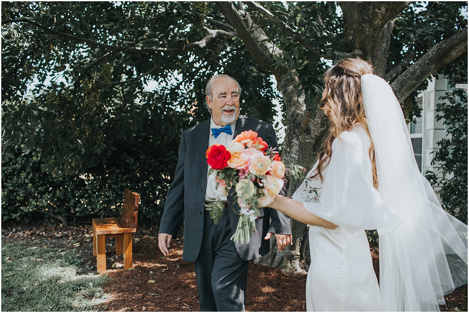wedding first look with dad