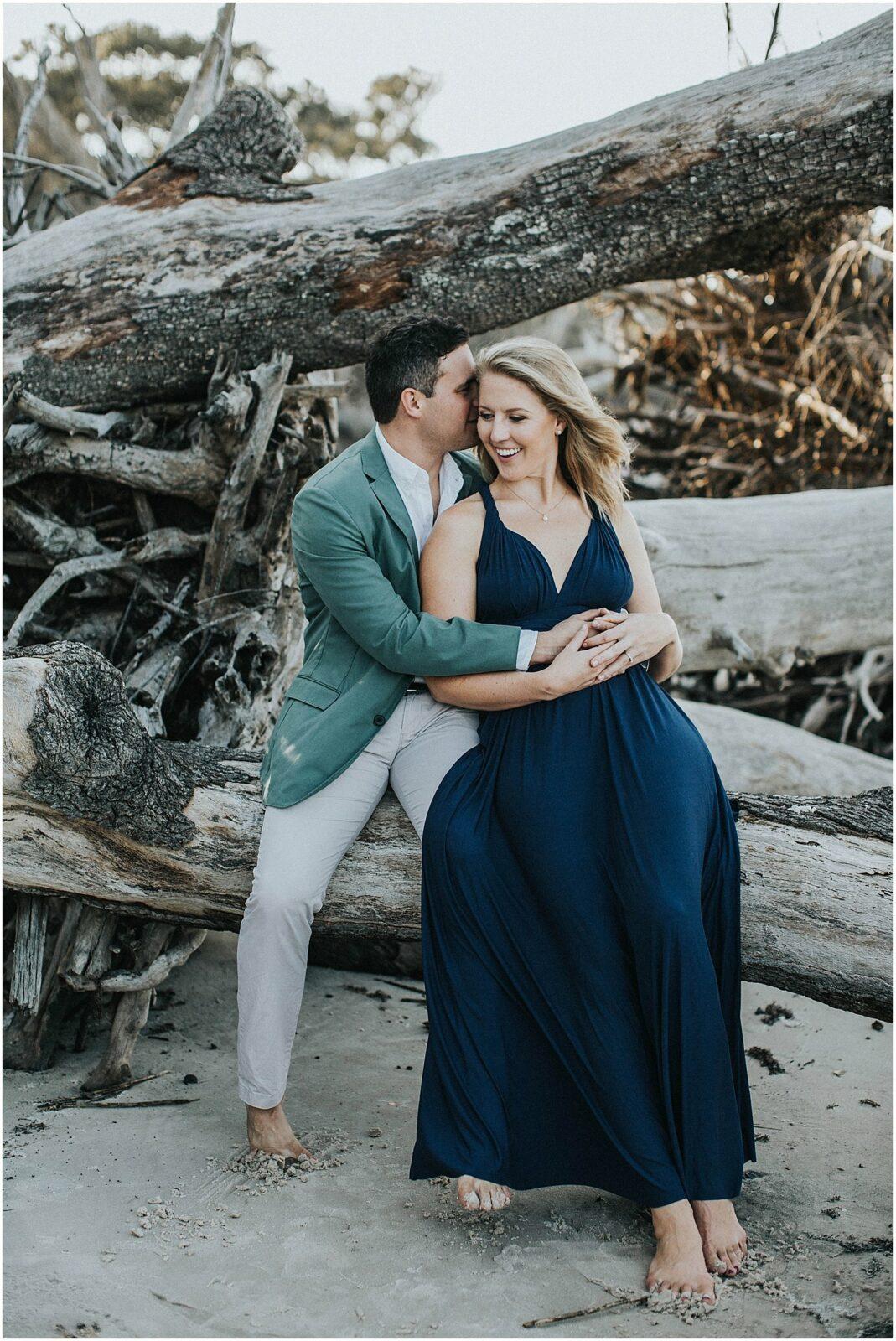 driftwood beach engagement