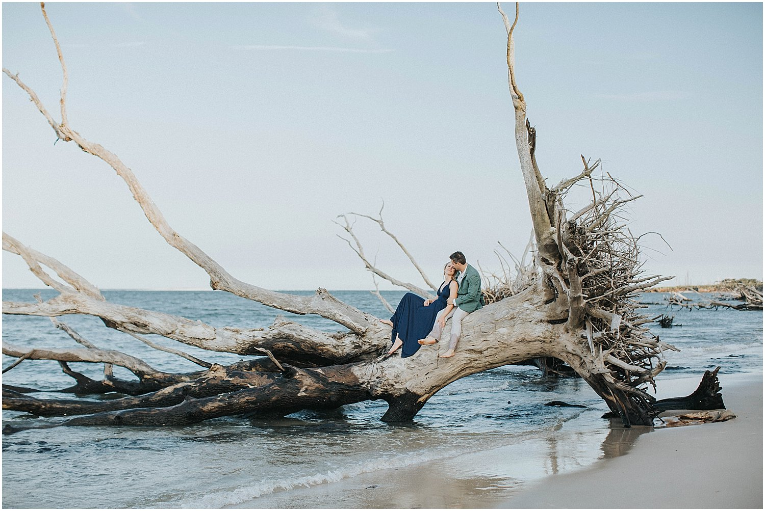 driftwood beach engagement session