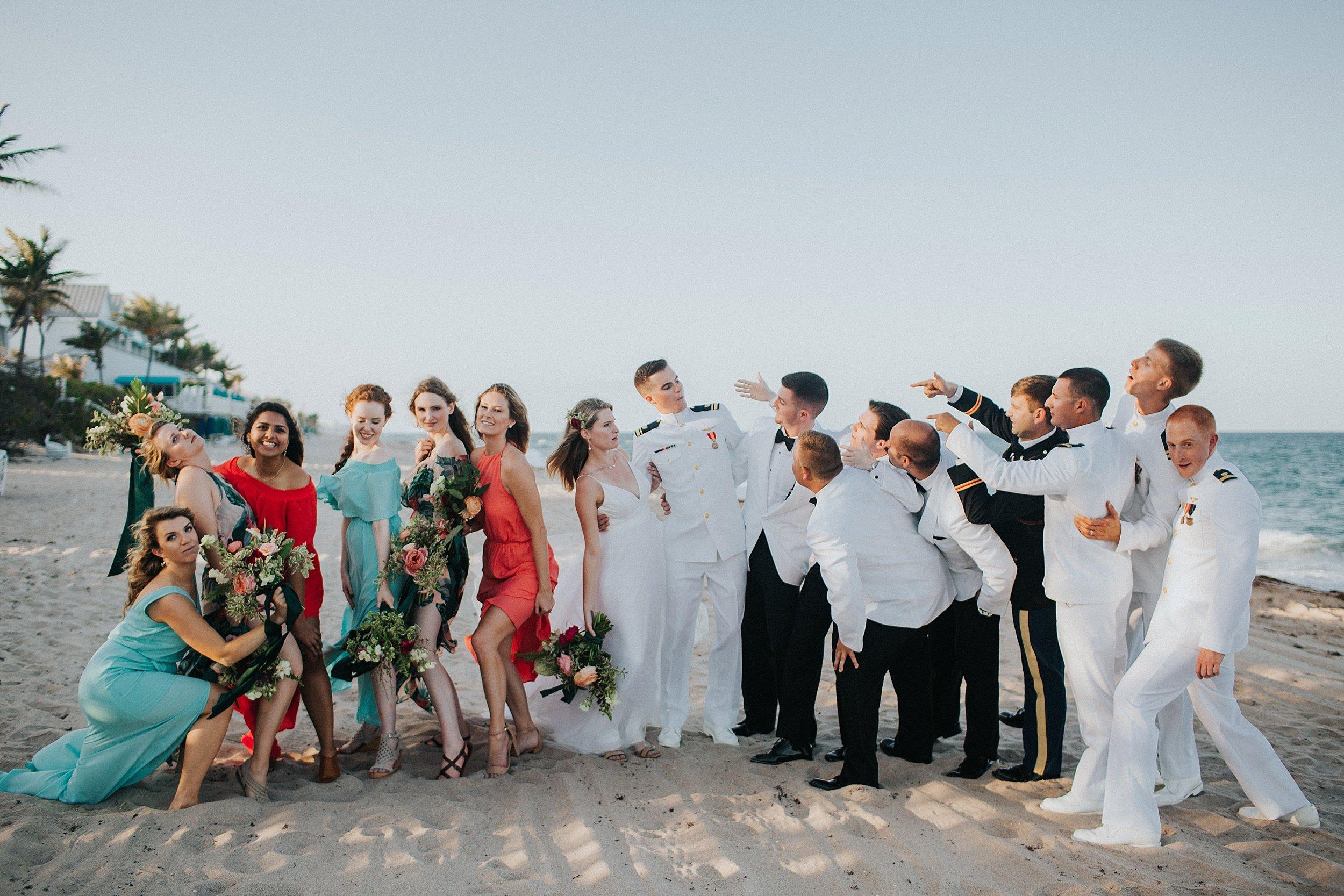fun bridal party photos on the beach