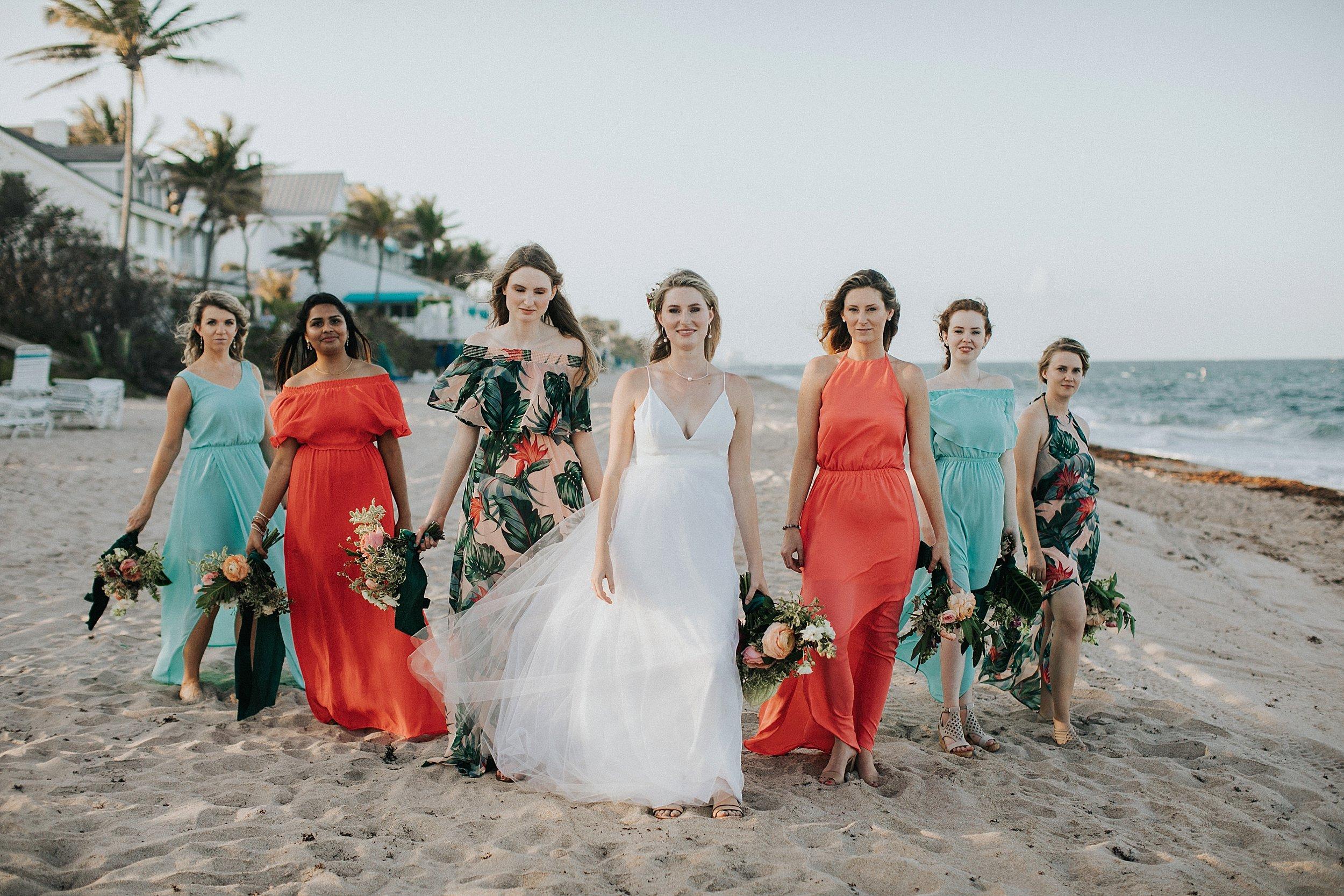 bridesmaids photos on the beach