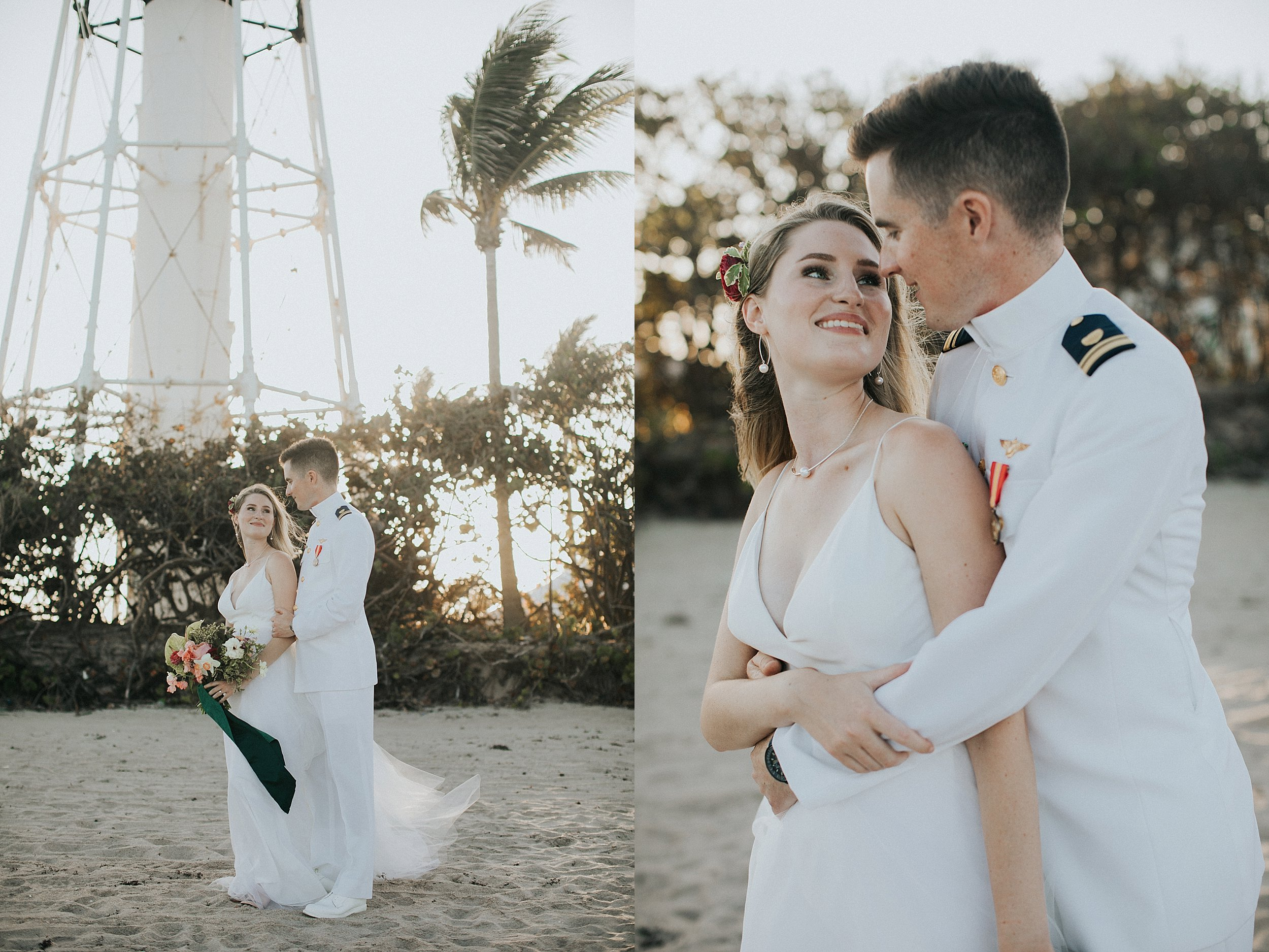 bride and groom portraits on the beach