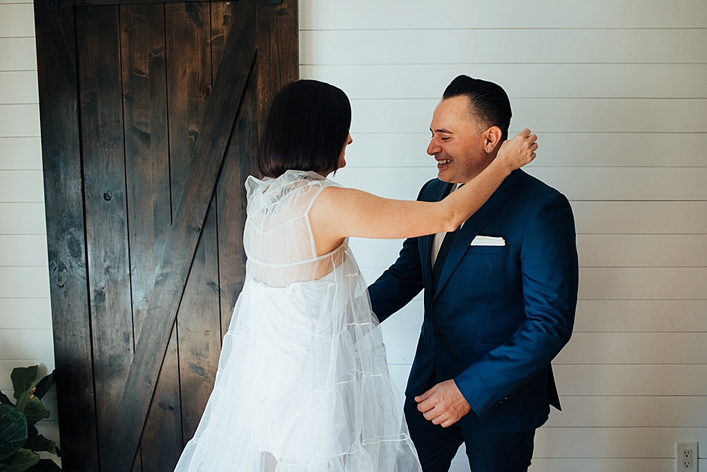 emotional groom on his elopement day