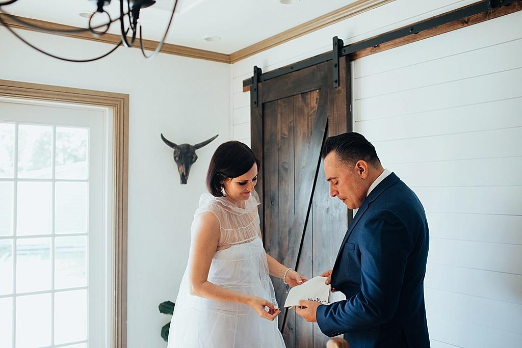 bride gives groom wedding gift