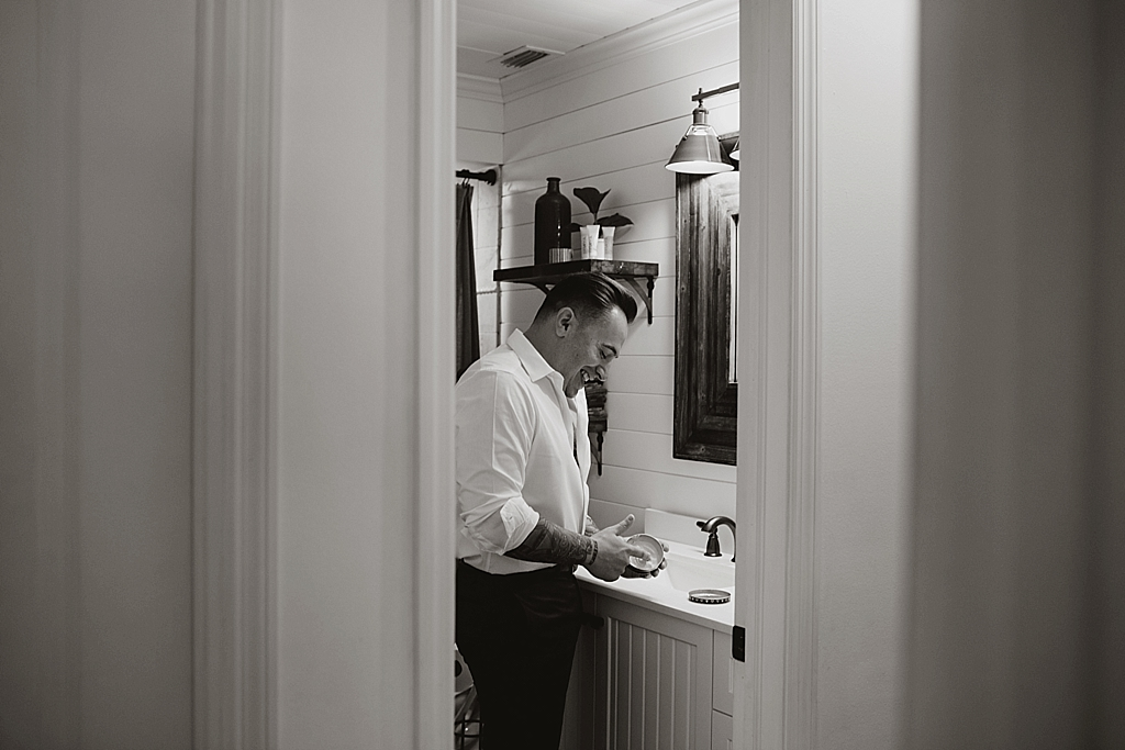 Groom getting ready for his elopement