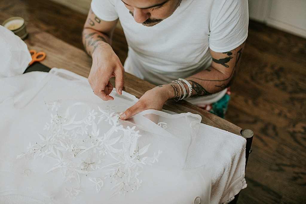 handmade wedding dress details