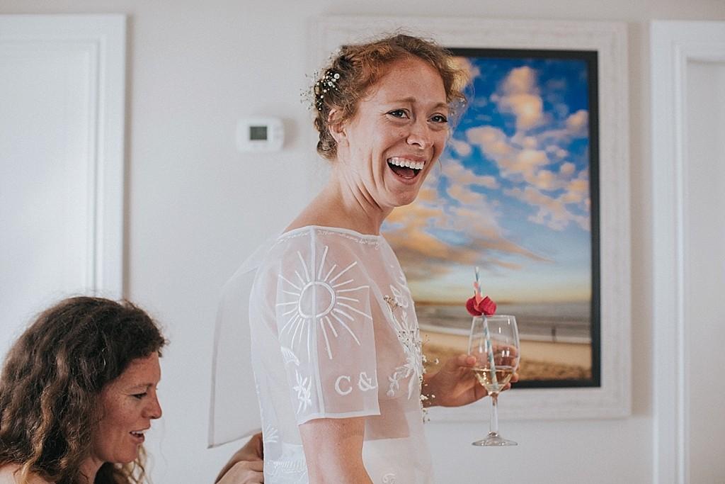 happy bride in the keys