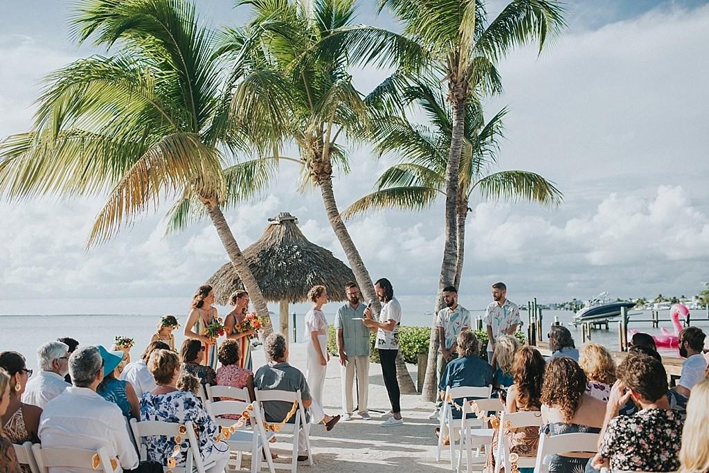 tropical water front keys wedding