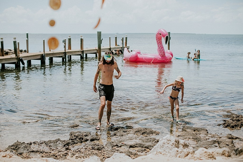 blow up flamingo float at a wedding
