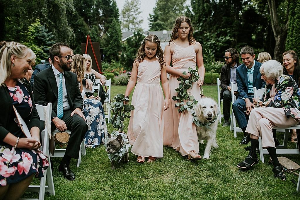 dog ring bearer and flower girl
