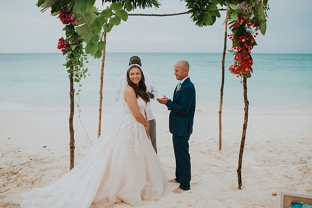 beach elopement in the bahamas