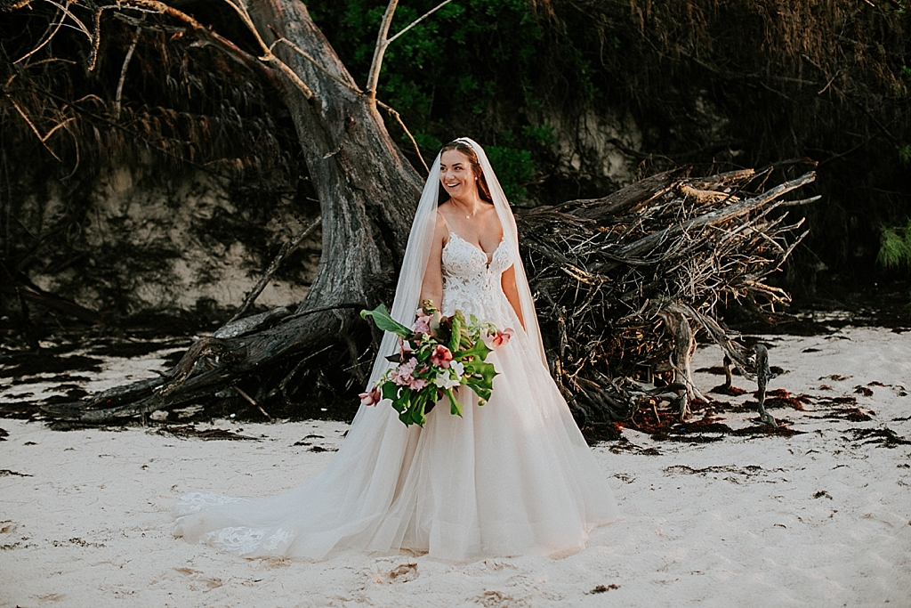 bridal portraits on the beach in the bahamas