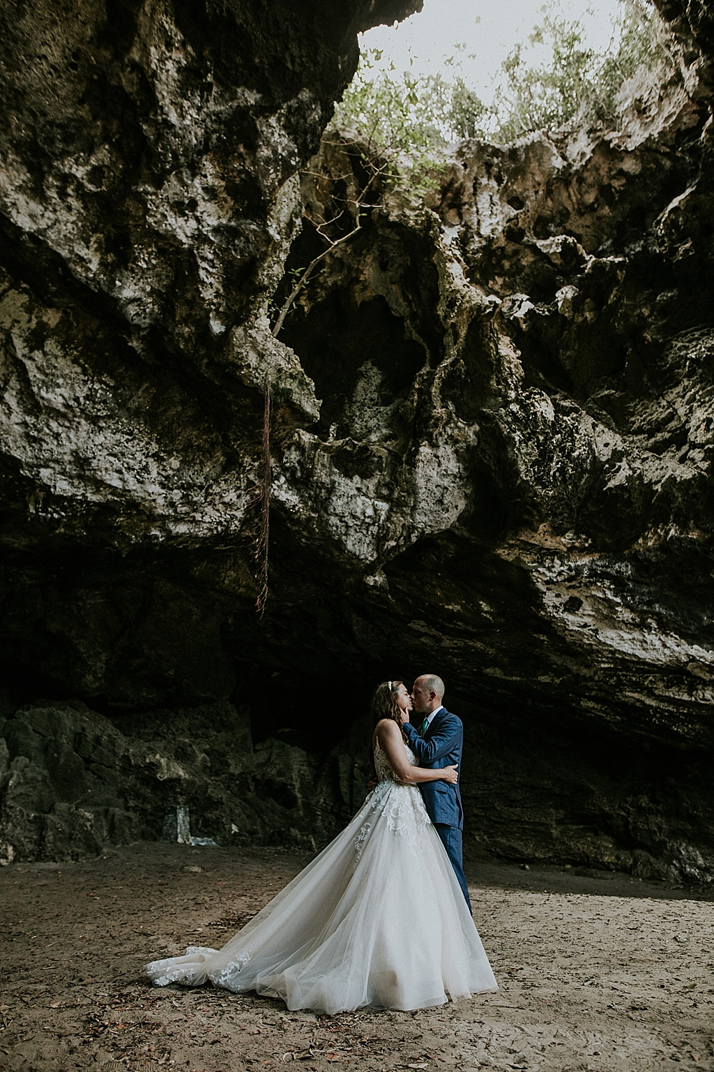 Wedding portraits in a cave