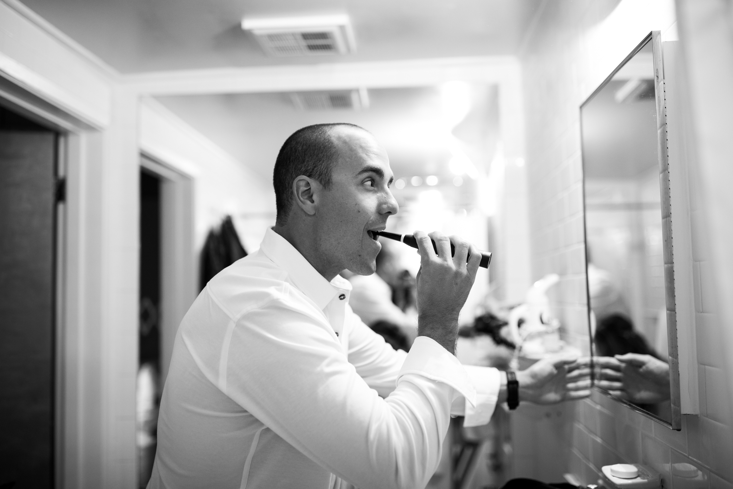groom getting ready at the standard hotel miami