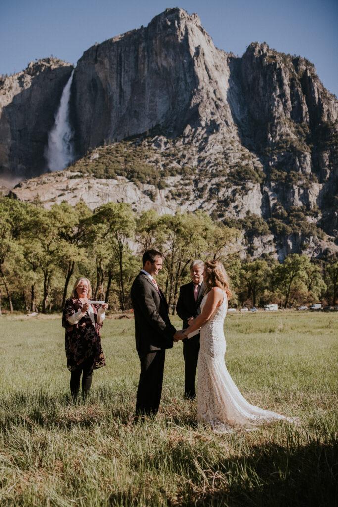 Yosemite valley wedding ceremony
