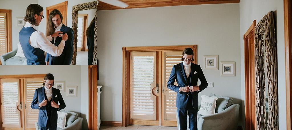 groom putting his suit on at the caribbean resort islamorada florida