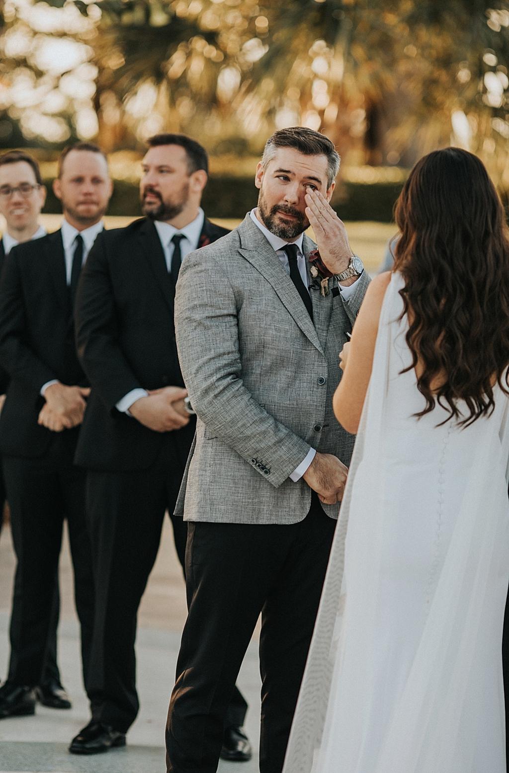 emotional groom on his wedding day