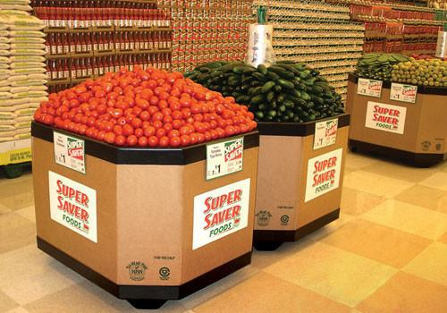 grocery store photo of dimensions of bin base for retail produce display with wheels