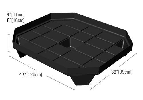 dimensions of bin base for retail produce display