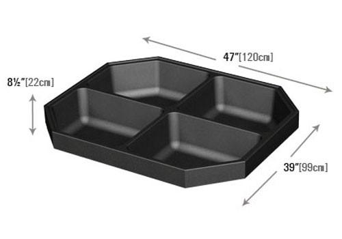 dimensions of Four Compartment Bin Top for Produce Display