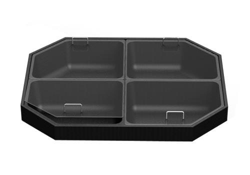 Four Compartment Bin Top for Produce Display with handles