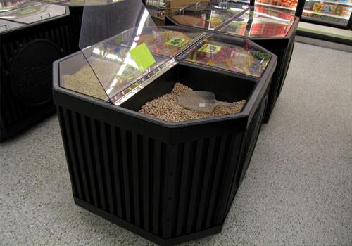 photo of Four Compartment Bin Top for Produce Display with lid open