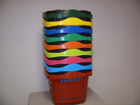 stackable Rolling Shopping Baskets with telescoping handle
