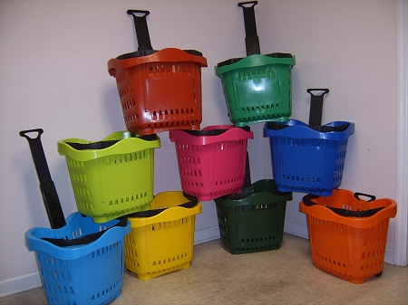 color options for Rolling Shopping Baskets with telescoping handle