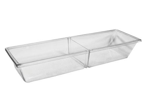 Two Compartment Removable Divider Clear Meat Pan (MPIH)