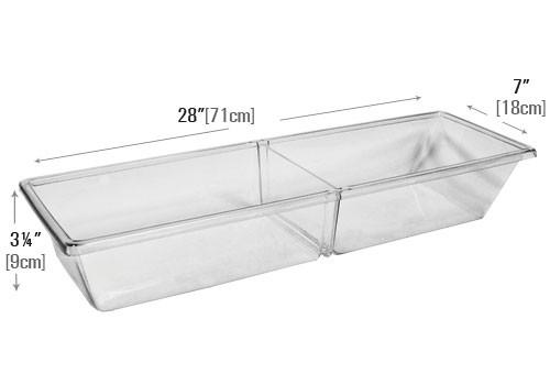 dimensions of Two Compartment Removable Divider Clear Meat Pan (MPIH)